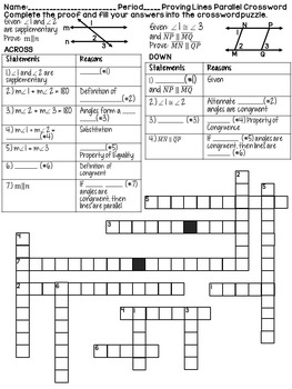 Proving Lines Parallel Geometry Proofs Crossword Puzzle