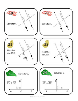 Angles and Parallel Lines Task Card Game