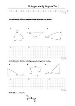Angles and Pythagoras WrittenTest