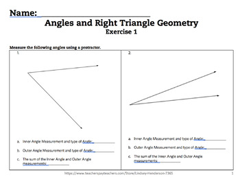 Angles and Right Triangle Geometry Lesson 1 of 6 Angle Mea
