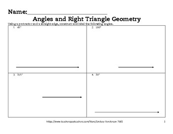 Angles and Right Triangle Geometry Lesson 2 of 6 Angle Construction