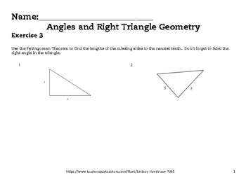 Angles and Right Triangle Geometry Lesson 3 of 6 Pythagorean Theorem