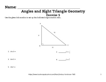 Angles and Right Triangle Geometry Lesson 5 of 6 SOH CAH TOA