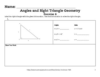 Angles and Right Triangle Geometry Lesson 6 of 6 Using Trig in Context