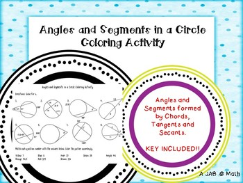 Angles and Segments in Circles Coloring Activity