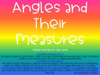 Angles and Their Measures Digital Task Cards