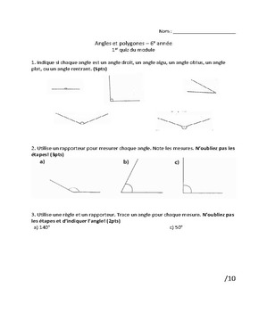 Grade 6 Angles and Transformations Quizzes (French)