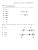 Identifying Angles and Transversals Worksheet (not solving for angles measures)