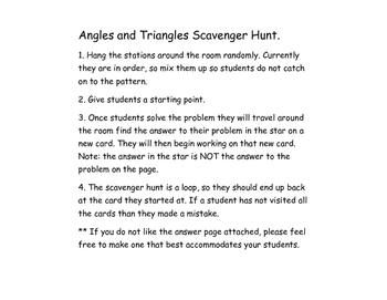 Angles and Triangle Sum Scavenger Hunt