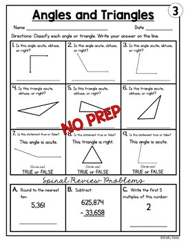 Angles and Triangles Worksheets