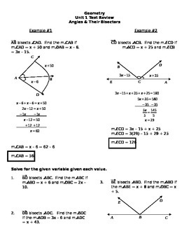 Angles and their bisectors review