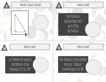 Angles et triangles - 3e cycle - Cartes à tâches