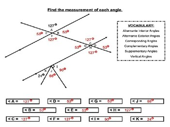 Angles formed by parallel lines cut by a transversal worksheets (Set 1)