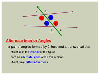 Angles formed by two lines and a transversal