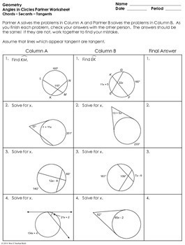 in Circles (using Secants, Tangents, and Chords) Partner Worksheet