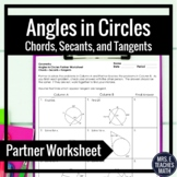 Angles in Circles using Secants, Tangents, and Chords Partner Worksheet