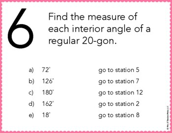 Angles in Convex Polygons Stations Maze