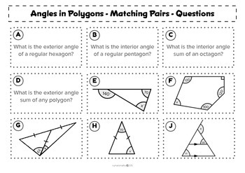 Angles in Polygons - Matching activity