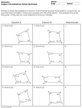 Angles in Quadrilaterals Partner Worksheet