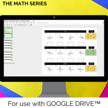 Angles in Standard Position (Degrees Only) - for use with GOOGLE Slides™