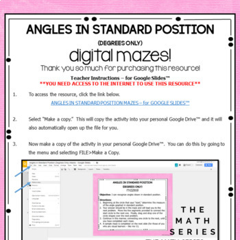 Angles in Standard Position (Degrees Only) Mazes - for Google Slides™