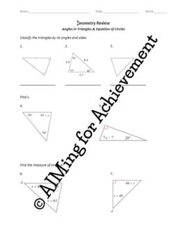 Angles in Triangles & Equation of Circle Review/Study Guide