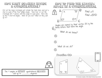 Angles in a Quadrilateral - Decorated Notes Brochure for Interactive Notebooks