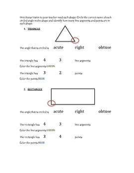Angles, Lines, Line Segments & Points Worksheet  IEP & RTI Goal Check *UPDATED*
