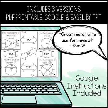 Properties of Circles Maze ~ Arcs, Tangents, Secants, & Inscribed Polygons