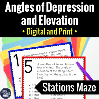 Angles Of Depression And Elevation Trig Stations Maze Activity Tpt