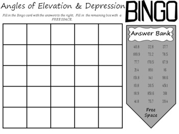 Angles of Elevation and Depression BINGO; Geometry, Right Triangle Trigonometry