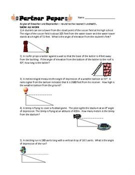 Angles of Elevation & Depre... by Math Maniacs | Teachers Pay Teachers