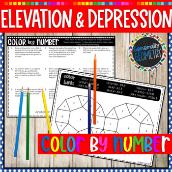 Angles of Elevation and Depression Color by Number; Right Triangles, Trig