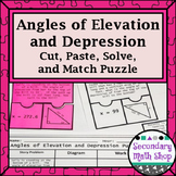 Angles of Elevation & Depression Cut, Paste, Solve, Puzzle Act.