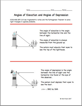 Angles of Elevation and Depression-DIFFERENTIATED NOTES ...