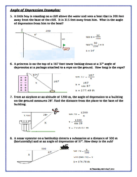 Angle of elevation and depression worksheet pdf