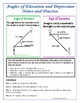 Right Triangles - Angles of Elevation & Depression Notes,