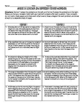angles of elevation and depression partner worksheet with answer key. Black Bedroom Furniture Sets. Home Design Ideas