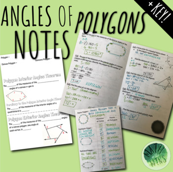 Angles of Polygons (Interior & Exterior) Notes