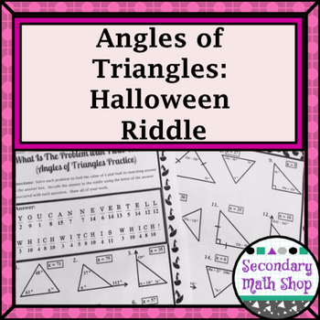 Angles of Triangles Halloween Riddle Worksheet