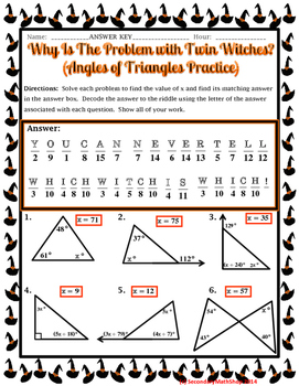 Angles Of Triangles Halloween Riddle Worksheet By Secondary Math Shop