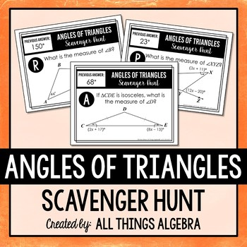 Angles of Triangles Scavenger Hunt (Includes Equilateral & Isosceles Triangles)