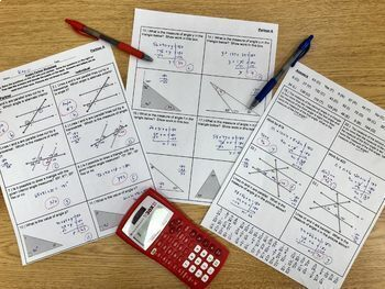 8th Grade Math Angles of Triangles & Parallel Lines  Review Partner Activity