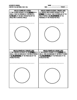 Angles of a Circle Notes Worksheet- Inscribed, Interior, & Exterior Angles