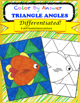 Angles of a Triangle Color by Answer Differentiated