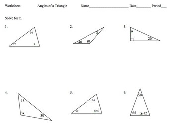 7th Math: Solve Equations Using Angles of a Triangle Worksheet