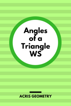 Geometry - Angles of a Triangle Worksheet plus parallel lines