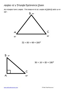 Angles of a Triangle for Interactive Math Notebooks