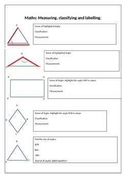 Angles worksheet Measuring and classifying.