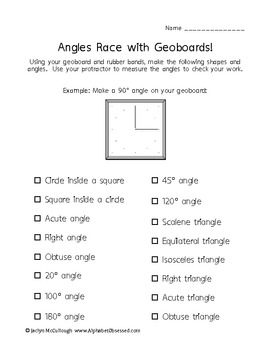 Angles/Triangles Race with Geoboards! Fun! Aligned with Common Core!